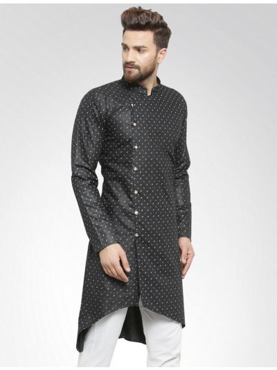 Sojanya (Since 1958), Men's Cotton Blend Black Printed ONLY Long Kurta