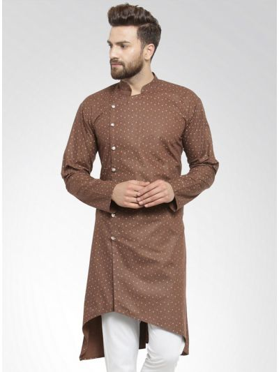 Sojanya (Since 1958), Men's Cotton Blend Dark Brown Printed ONLY Long Kurta