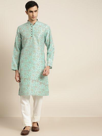 Sojanya (Since 1958), Men's Silk Blend Sea Green Printed ONLY Kurta