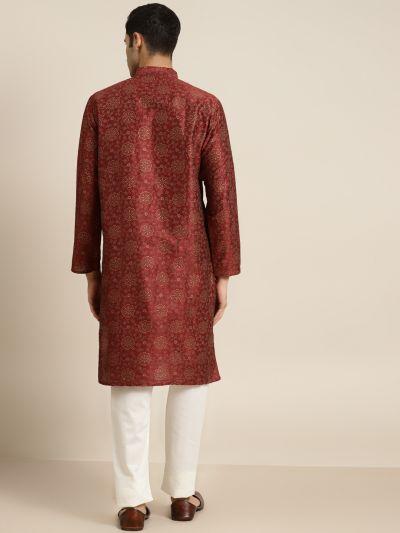 Sojanya (Since 1958), Men's Silk Blend Maroon Printed ONLY Kurta