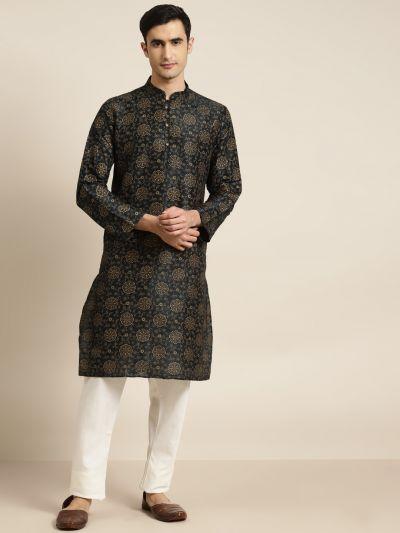 Sojanya (Since 1958), Men's Silk Blend Black Printed ONLY Kurta