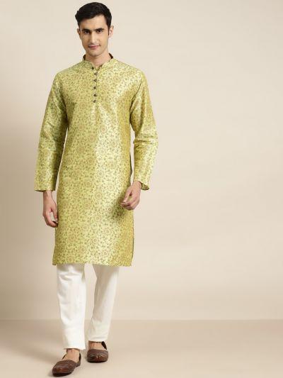 Sojanya (Since 1958), Men's Silk Blend Pista Green Printed ONLY Kurta