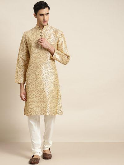 Sojanya (Since 1958), Men's Silk Blend Beige Printed ONLY Kurta