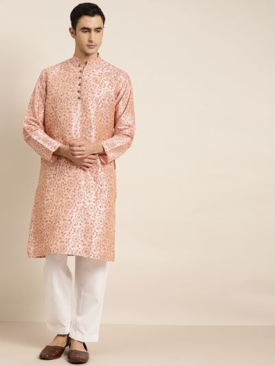 Sojanya (Since 1958), Men's Silk Blend Pink Printed ONLY Kurta