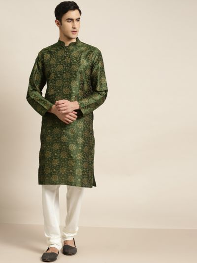 Sojanya (Since 1958), Men's Silk Blend Dark Green Printed ONLY Kurta