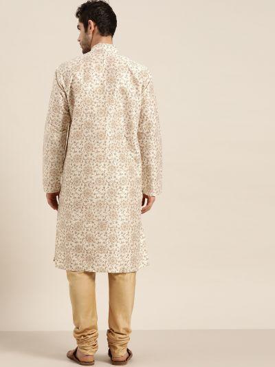 Sojanya (Since 1958), Men's Silk Blend Cream Printed ONLY Kurta