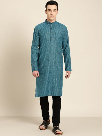 Sojanya (Since 1958), Men's Cotton Teal Blue Striped ONLY Kurta