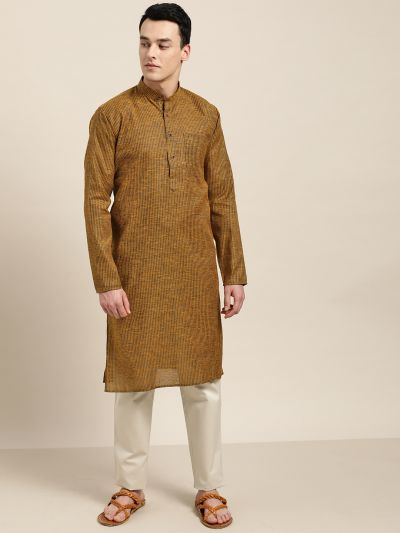 Sojanya (Since 1958), Men's Cotton Mustard& Dark Brown Striped ONLY Kurta