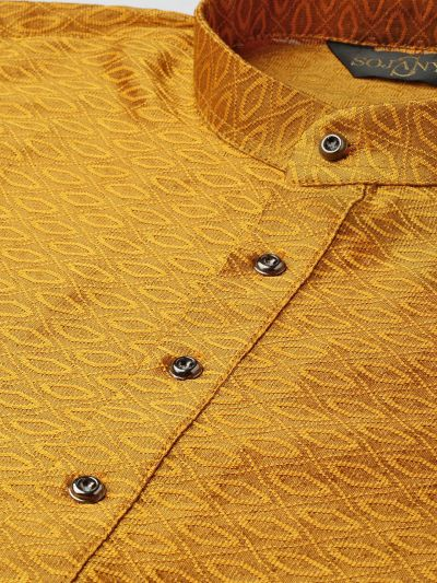 Sojanya (Since 1958), Men's Silk Blend Mustard Self Design ONLY Kurta