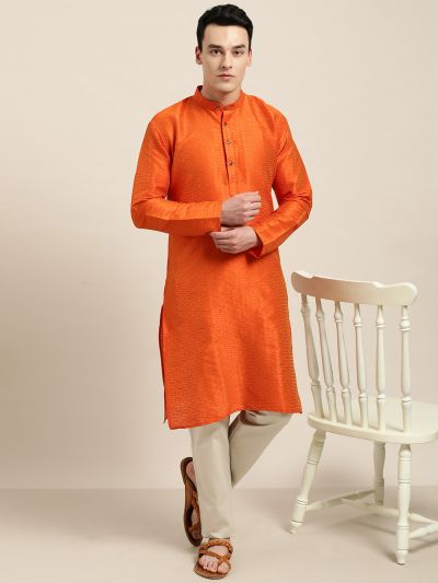 Sojanya (Since 1958), Men's Silk Blend Orange Self Design ONLY Kurta