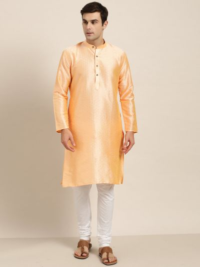 Sojanya (Since 1958), Men's Silk Blend Peach Self Design ONLY Kurta