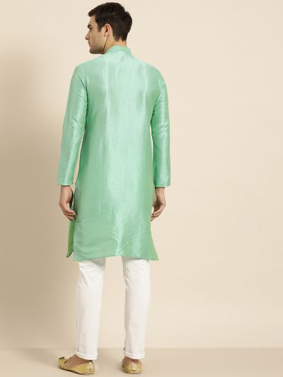 Sojanya (Since 1958), Men's Silk Blend Sea Green Self Design ONLY Kurta