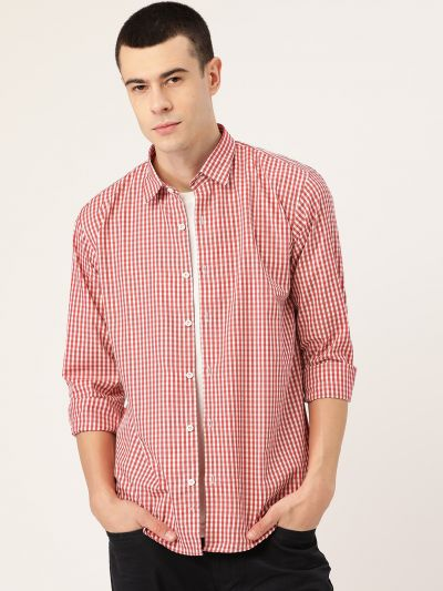 Sojanya (Since 1958), Men's Cotton Red & White Checked Casual Shirt