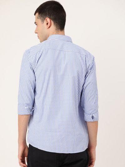 Sojanya (Since 1958), Men's Cotton Blue & White Checked Casual Shirt
