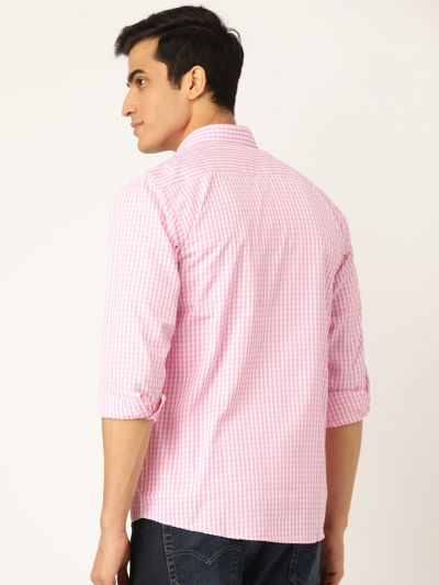 Sojanya (Since 1958), Men's Cotton Pink & White Checked Casual Shirt