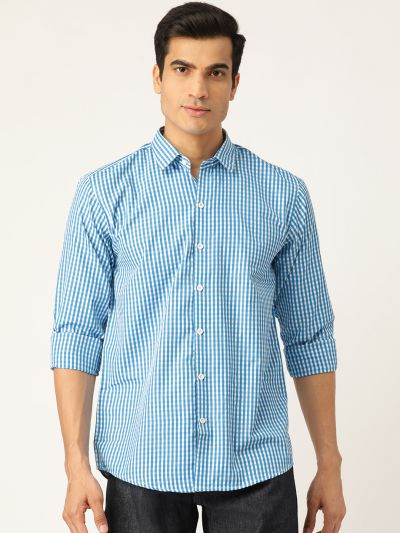 Sojanya (Since 1958), Men's Cotton Teal Blue & White Checked Casual Shirt
