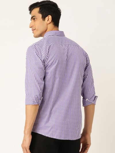 Sojanya (Since 1958), Men's Cotton Purple & White Checked Casual Shirt