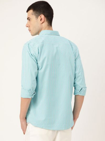 Sojanya (Since 1958), Men's Cotton Sea Green & White Checked Casual Shirt