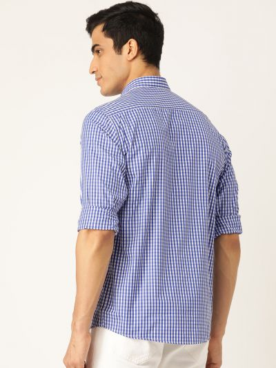 Sojanya (Since 1958), Men's Cotton Royal Blue & White Checked Casual Shirt
