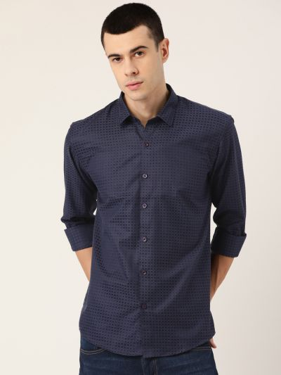 Sojanya (Since 1958), Men's Cotton Navy Blue Checked Casual Shirt