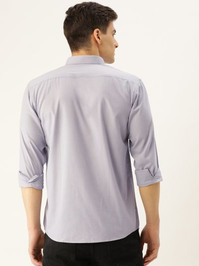 Sojanya (Since 1958), Men's Cotton Grey Casual Shirt