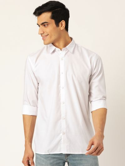 Sojanya (Since 1958), Men's Cotton White Casual Shirt