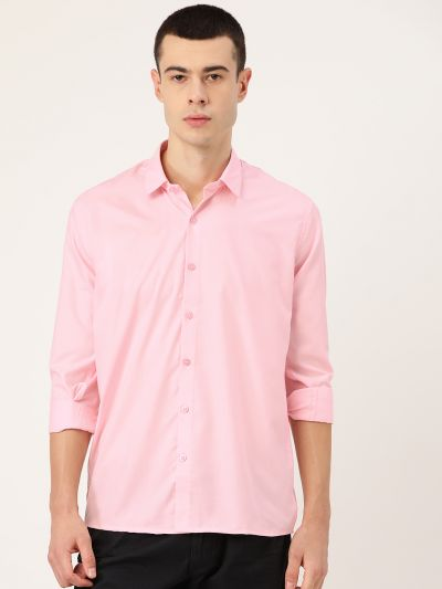 Sojanya (Since 1958), Men's Cotton Pink Casual Shirt
