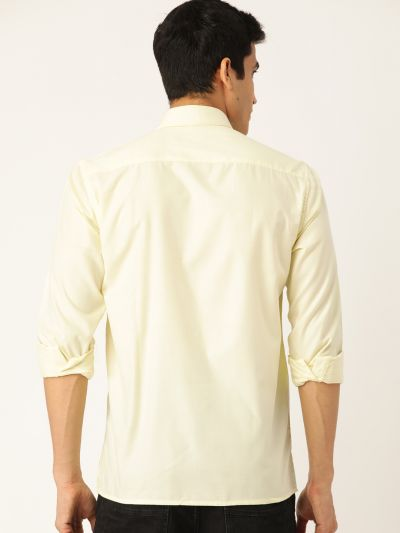 Sojanya (Since 1958), Men's Cotton Lemon Yellow Casual Shirt