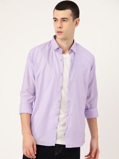 Sojanya (Since 1958), Men's Cotton Lavender Casual Shirt