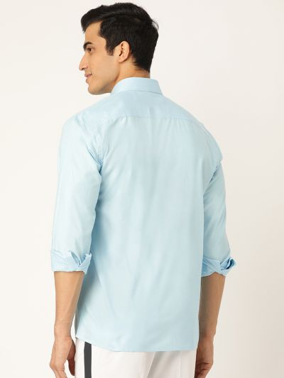 Sojanya (Since 1958), Men's Cotton Sky Blue Casual Shirt