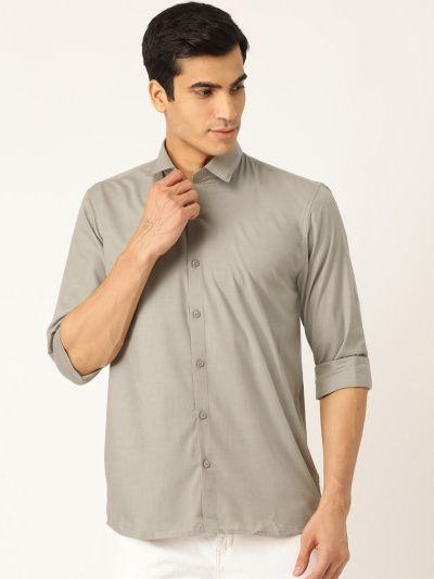 Sojanya (Since 1958), Men's Cotton Pista Green Casual Shirt