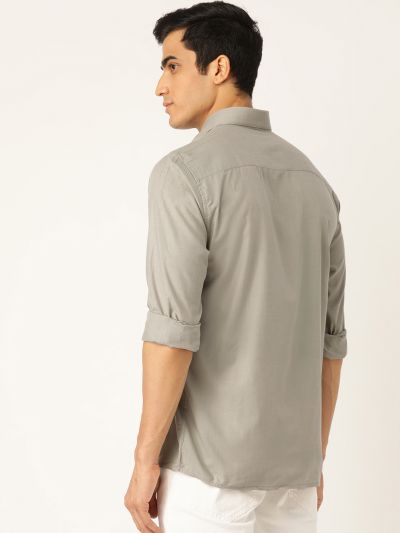 Sojanya (Since 1958), Men's Cotton Pista Green Casual Shirt