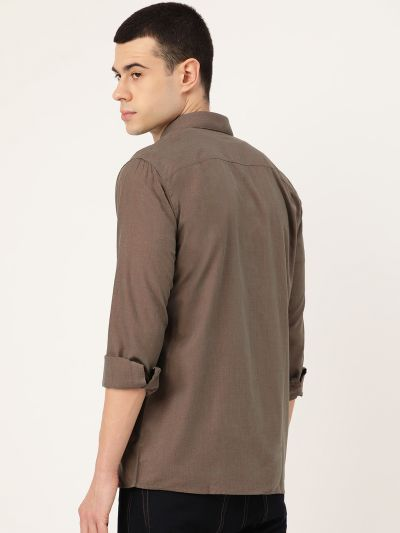 Sojanya (Since 1958), Men's Cotton Dark Brown Casual Shirt