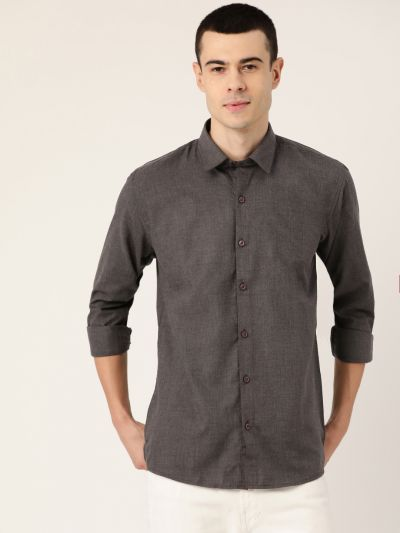 Sojanya (Since 1958), Men's Cotton Charcoal Grey Casual Shirt