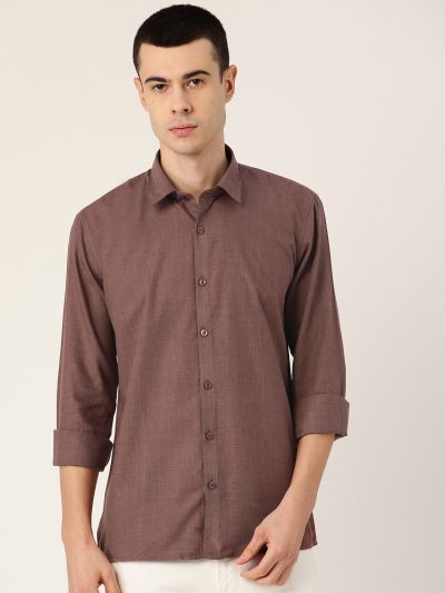 Sojanya (Since 1958), Men's Cotton Wine Casual Shirt
