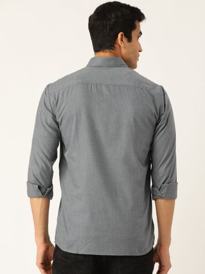 Sojanya (Since 1958), Men's Cotton Teal Blue Casual Shirt
