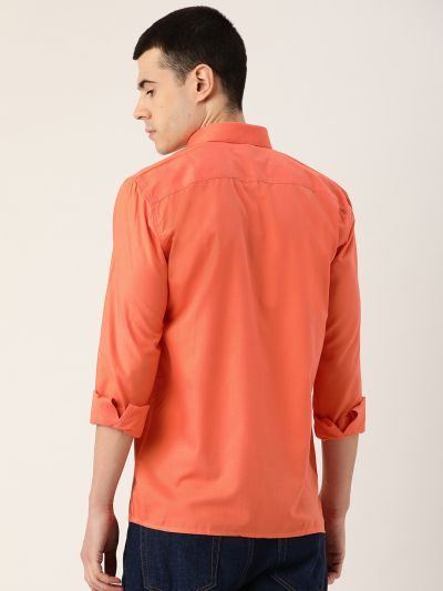 Sojanya (Since 1958), Men's Cotton Orange Casual Shirt