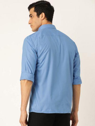 Sojanya (Since 1958), Men's Cotton Blue Casual Shirt
