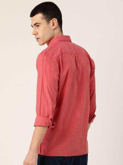 Sojanya (Since 1958), Men's Cotton Coral Red Casual Shirt