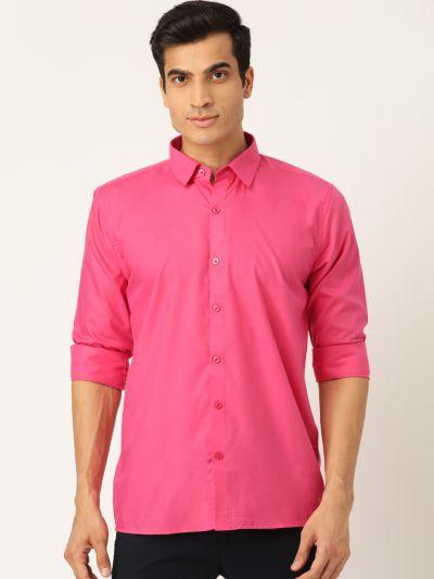 Sojanya (Since 1958), Men's Cotton Dark Pink Casual Shirt