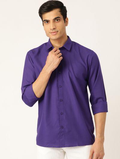 Sojanya (Since 1958), Men's Cotton Royal Blue Casual Shirt