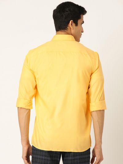 Sojanya (Since 1958), Men's Cotton Yellow Casual Shirt