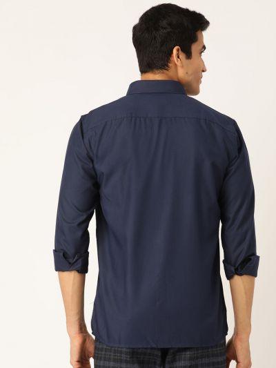 Sojanya (Since 1958), Men's Cotton Navy Blue Casual Shirt