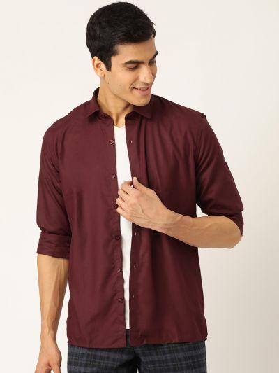 Sojanya (Since 1958), Men's Cotton Maroon Casual Shirt