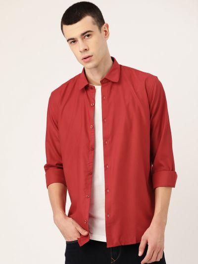 Sojanya (Since 1958), Men's Cotton Red Casual Shirt