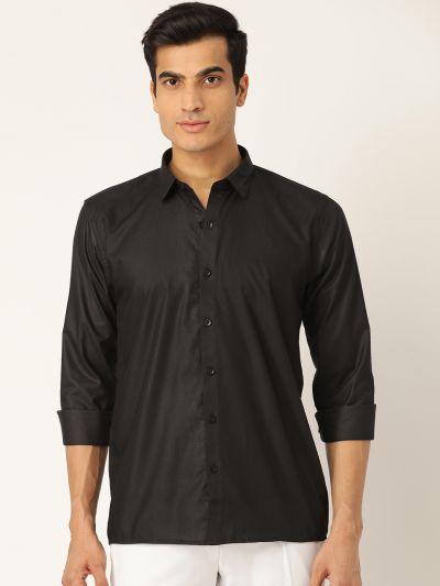 Sojanya (Since 1958), Men's Cotton Black Casual Shirt