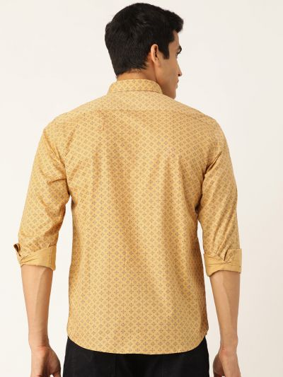 Sojanya (Since 1958), Mens Cotton Mustard & Navy Blue Printed Casual Shirt