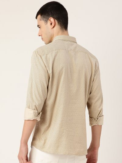Sojanya (Since 1958), Mens Cotton Beige & Blue Printed Casual Shirt