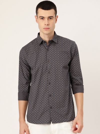 Sojanya (Since 1958), Mens Cotton Charcoal Grey Printed Casual Shirt