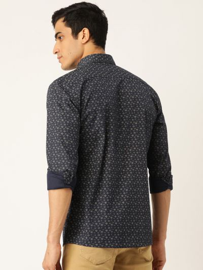 Sojanya (Since 1958), Mens Cotton Navy Blue & Gold Printed Casual Shirt